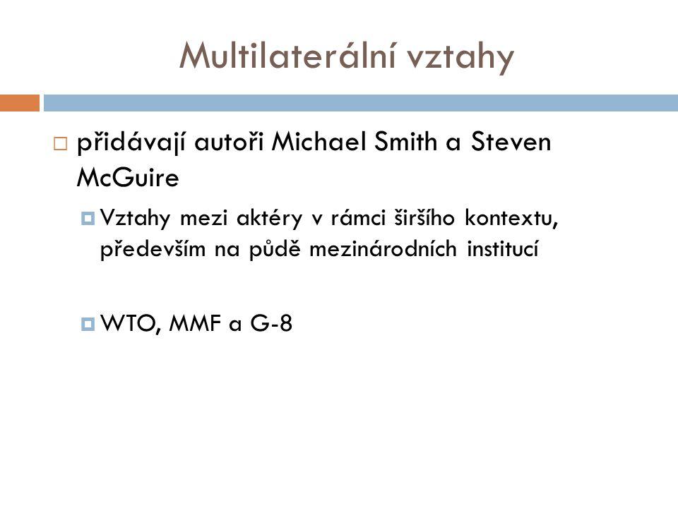 Multilaterální vztahy  přidávají autoři Michael Smith a Steven McGuire  Vztahy mezi aktéry v rámci širšího kontextu, především na půdě mezinárodních institucí  WTO, MMF a G-8