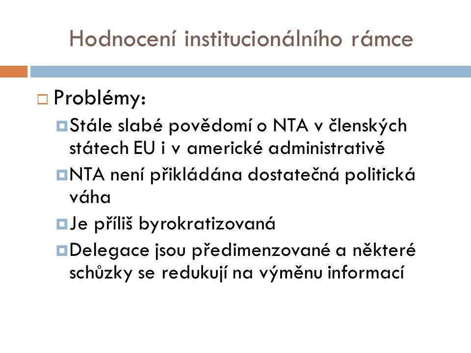 Hodnocení institucionálního rámce  Problémy:  Stále slabé povědomí o NTA v členských státech EU i v americké administrativě  NTA není přikládána dostatečná politická váha  Je příliš byrokratizovaná  Delegace jsou předimenzované a některé schůzky se redukují na výměnu informací