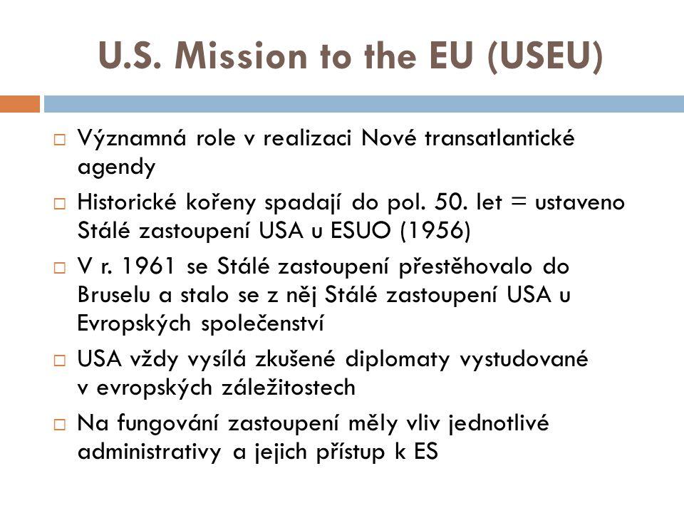 Stálé zastoupení EU v USA  Historické kořeny spadají do roku 1954, kdy byla ustavena informační kancelář ESUO ve Washingtonu (řízena Američany)  Od pol.