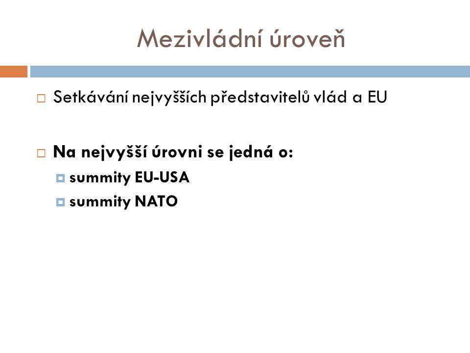 Mezivládní úroveň  Setkávání nejvyšších představitelů vlád a EU  Na nejvyšší úrovni se jedná o:  summity EU-USA  summity NATO