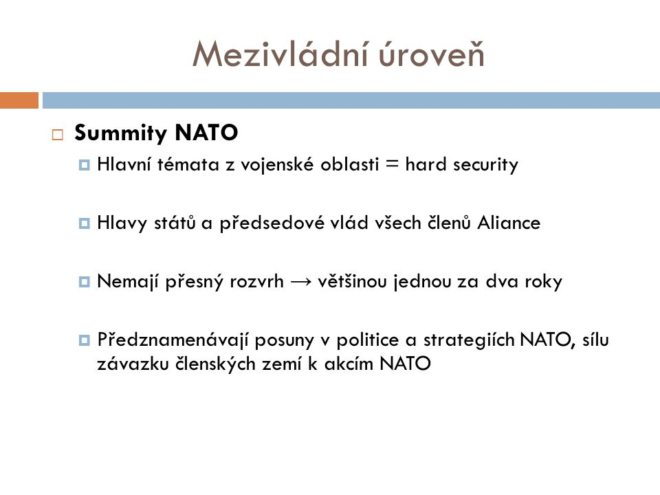 Mezivládní úroveň  Summity NATO  Hlavní témata z vojenské oblasti = hard security  Hlavy států a předsedové vlád všech členů Aliance  Nemají přesný rozvrh → většinou jednou za dva roky  Předznamenávají posuny v politice a strategiích NATO, sílu závazku členských zemí k akcím NATO