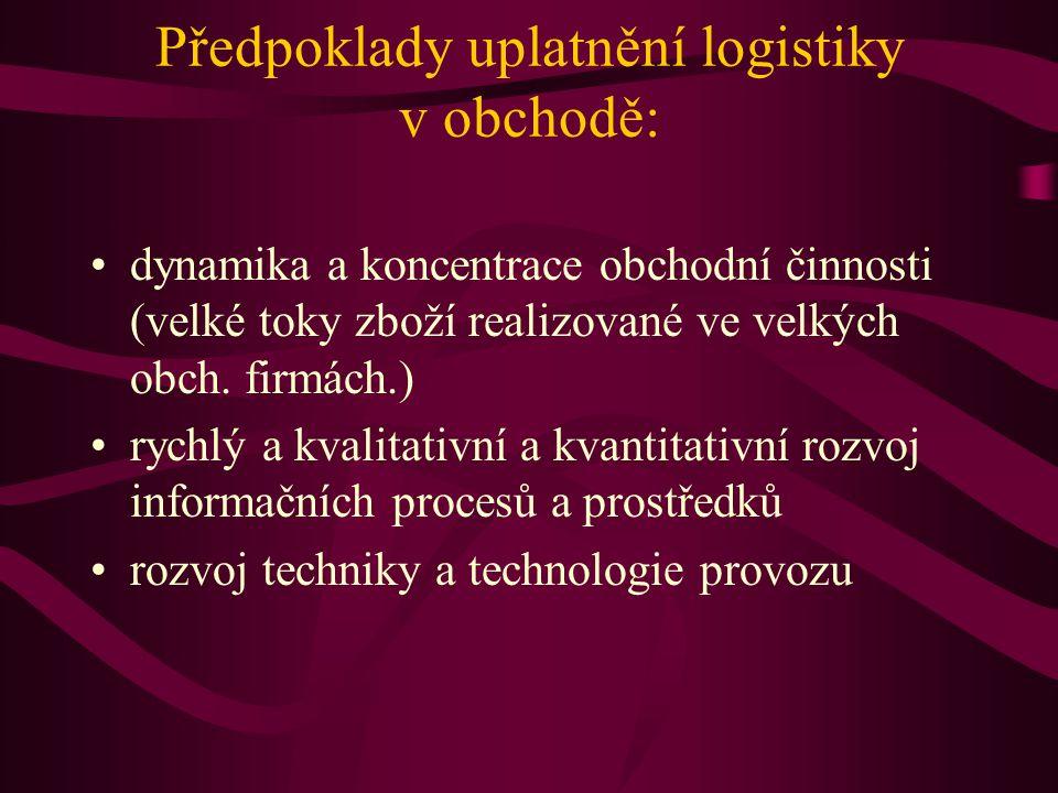Předpoklady uplatnění logistiky v obchodě: dynamika a koncentrace obchodní činnosti (velké toky zboží realizované ve velkých obch. firmách.) rychlý a