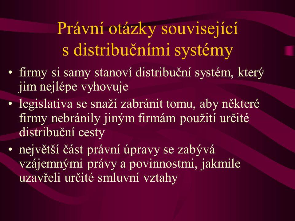 Právní otázky související s distribučními systémy firmy si samy stanoví distribuční systém, který jim nejlépe vyhovuje legislativa se snaží zabránit t