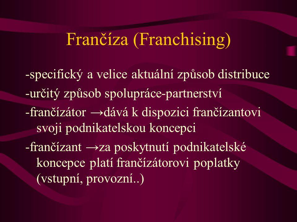 Frančíza (Franchising) -specifický a velice aktuální způsob distribuce -určitý způsob spolupráce-partnerství -frančízátor →dává k dispozici frančízant