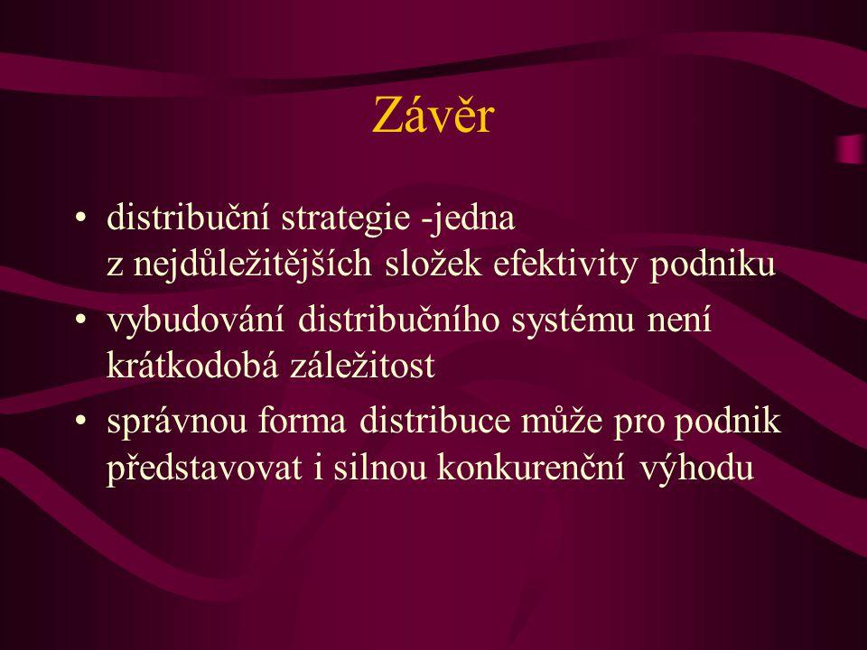 Závěr distribuční strategie -jedna z nejdůležitějších složek efektivity podniku vybudování distribučního systému není krátkodobá záležitost správnou f