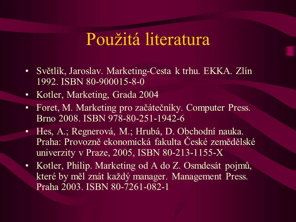 Použitá literatura Světlík, Jaroslav. Marketing-Cesta k trhu. EKKA. Zlín 1992. ISBN 80-900015-8-0 Kotler, Marketing, Grada 2004 Foret, M. Marketing pr