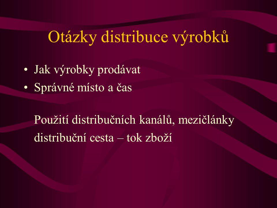 Otázky distribuce výrobků Jak výrobky prodávat Správné místo a čas Použití distribučních kanálů, mezičlánky distribuční cesta – tok zboží