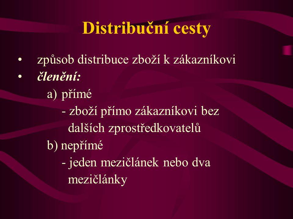 Distribuční cesty způsob distribuce zboží k zákazníkovi členění: a)přímé - zboží přímo zákazníkovi bez dalších zprostředkovatelů b) nepřímé - jeden me