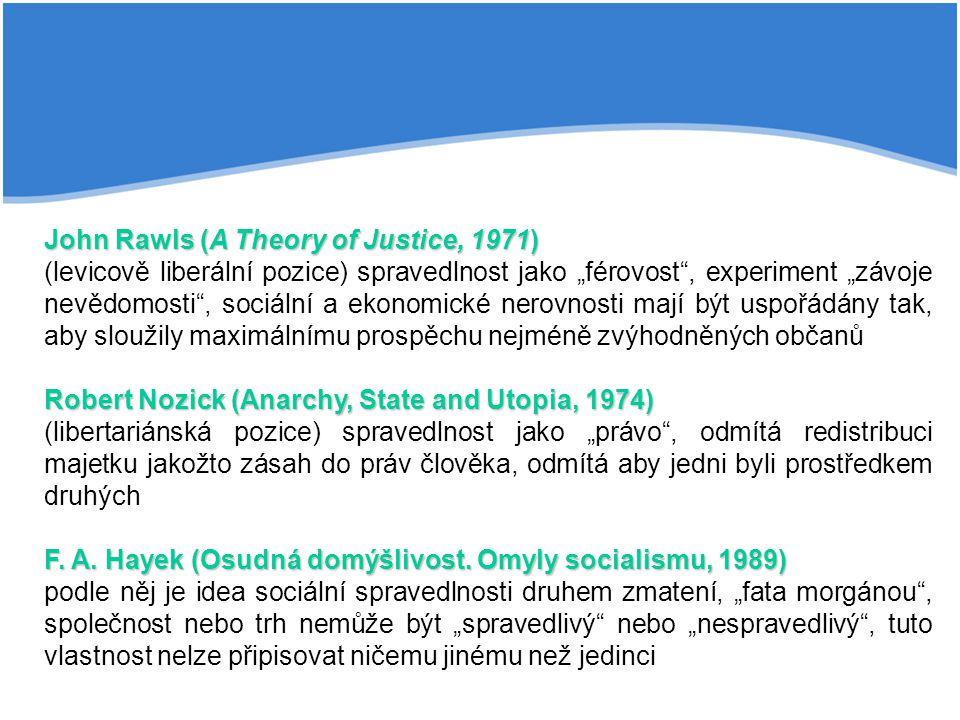 """John Rawls (A Theory of Justice, 1971) (levicově liberální pozice) spravedlnost jako """"férovost , experiment """"závoje nevědomosti , sociální a ekonomické nerovnosti mají být uspořádány tak, aby sloužily maximálnímu prospěchu nejméně zvýhodněných občanů Robert Nozick (Anarchy, State and Utopia, 1974) (libertariánská pozice) spravedlnost jako """"právo , odmítá redistribuci majetku jakožto zásah do práv člověka, odmítá aby jedni byli prostředkem druhých F."""