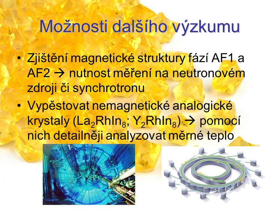 Možnosti dalšího výzkumu Zjištění magnetické struktury fází AF1 a AF2  nutnost měření na neutronovém zdroji či synchrotronu Vypěstovat nemagnetické analogické krystaly (La 2 RhIn 8 ; Y 2 RhIn 8 )  pomocí nich detailněji analyzovat měrné teplo