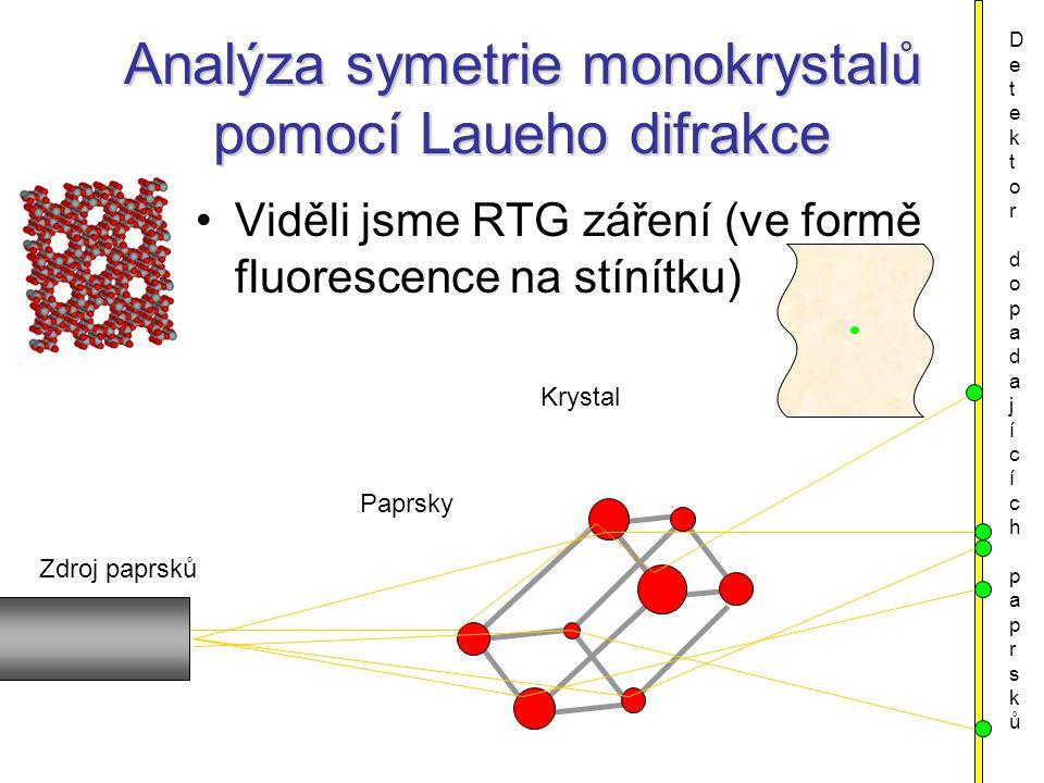 Analýza symetrie monokrystalů pomocí Laueho difrakce Viděli jsme RTG záření (ve formě fluorescence na stínítku) Krystal Zdroj paprsků Detektor dopadajících paprskůDetektor dopadajících paprsků Paprsky