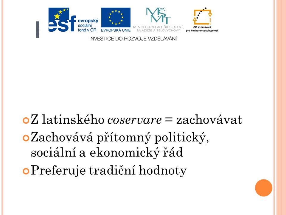 KONZERVATISMUS Z latinského coservare = zachovávat Zachovává přítomný politický, sociální a ekonomický řád Preferuje tradiční hodnoty
