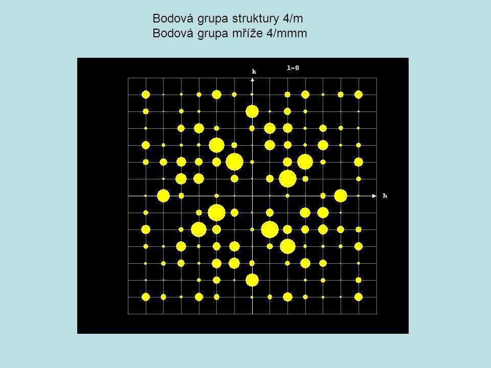 Bodová grupa struktury mmm – space group Pmma Bodová grupa mříže 4/mmm