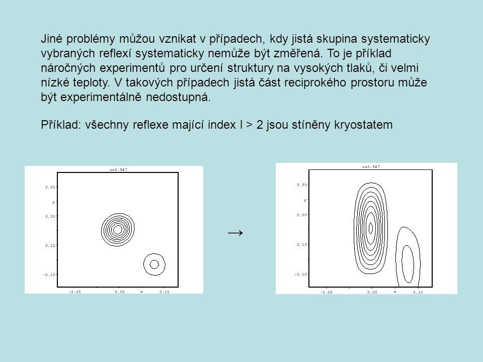 Jiné problémy můžou vznikat v případech, kdy jistá skupina systematicky vybraných reflexí systematicky nemůže být změřená.