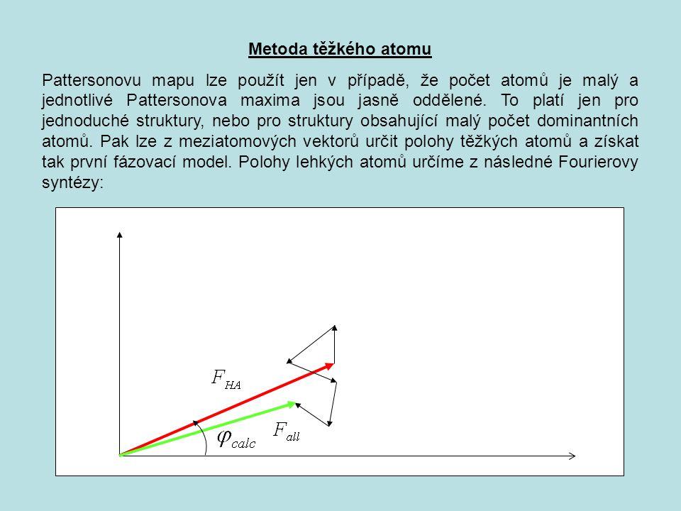 Metoda těžkého atomu Pattersonovu mapu lze použít jen v případě, že počet atomů je malý a jednotlivé Pattersonova maxima jsou jasně oddělené.