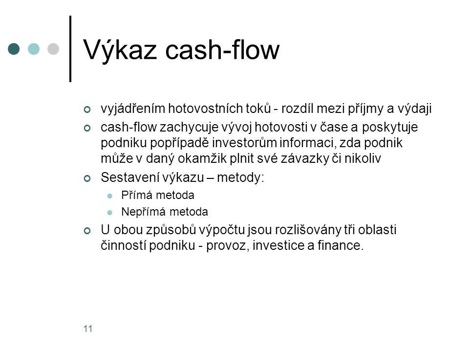 Výkaz cash-flow vyjádřením hotovostních toků - rozdíl mezi příjmy a výdaji cash-flow zachycuje vývoj hotovosti v čase a poskytuje podniku popřípadě in