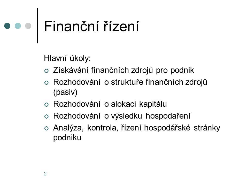 Finanční řízení Hlavní úkoly: Získávání finančních zdrojů pro podnik Rozhodování o struktuře finančních zdrojů (pasiv) Rozhodování o alokaci kapitálu