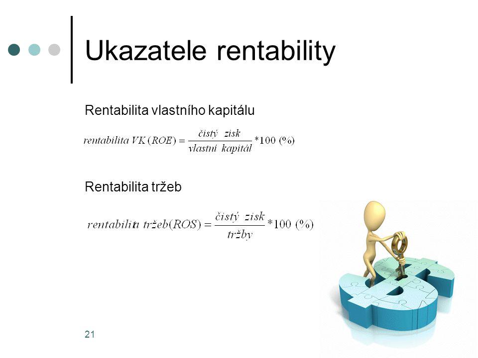 Ukazatele rentability Rentabilita vlastního kapitálu Rentabilita tržeb 21