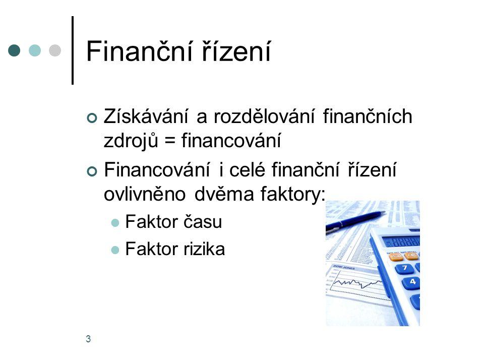 Finanční řízení Získávání a rozdělování finančních zdrojů = financování Financování i celé finanční řízení ovlivněno dvěma faktory: Faktor času Faktor