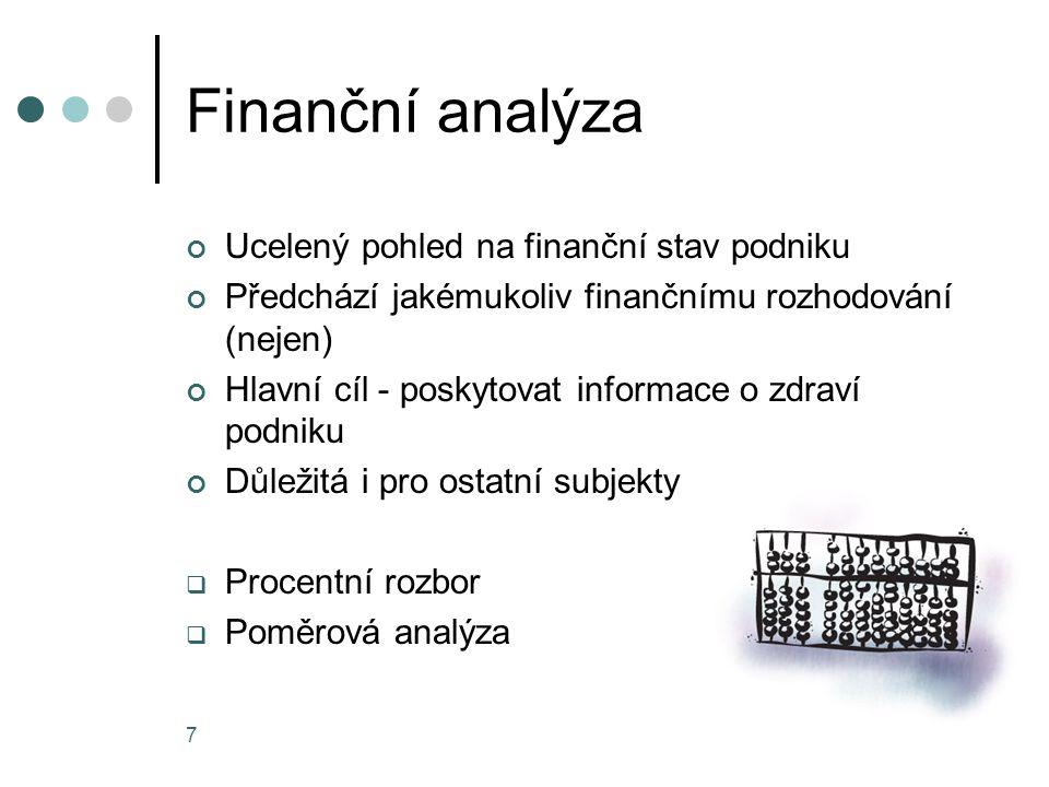 Finanční analýza Ucelený pohled na finanční stav podniku Předchází jakémukoliv finančnímu rozhodování (nejen) Hlavní cíl - poskytovat informace o zdra