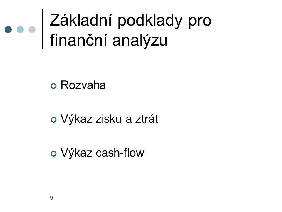 Základní podklady pro finanční analýzu Rozvaha Výkaz zisku a ztrát Výkaz cash-flow 9