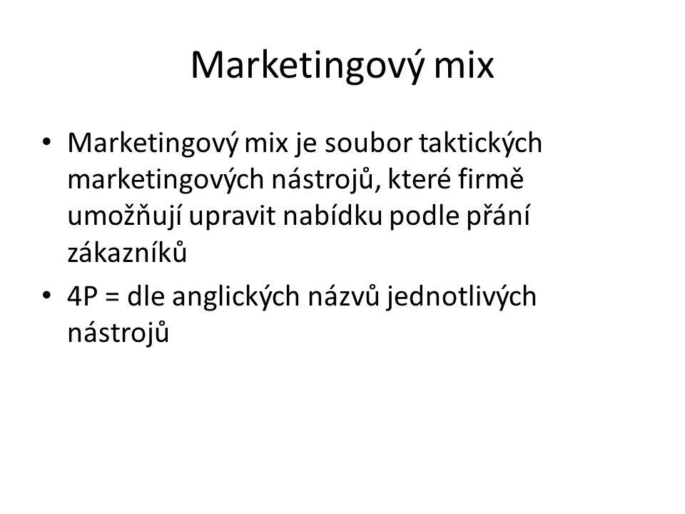 Marketingový mix Marketingový mix je soubor taktických marketingových nástrojů, které firmě umožňují upravit nabídku podle přání zákazníků 4P = dle an