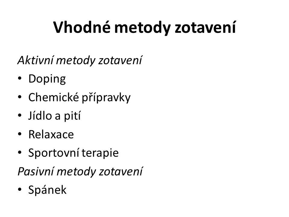 Vhodné metody zotavení Aktivní metody zotavení Doping Chemické přípravky Jídlo a pití Relaxace Sportovní terapie Pasivní metody zotavení Spánek