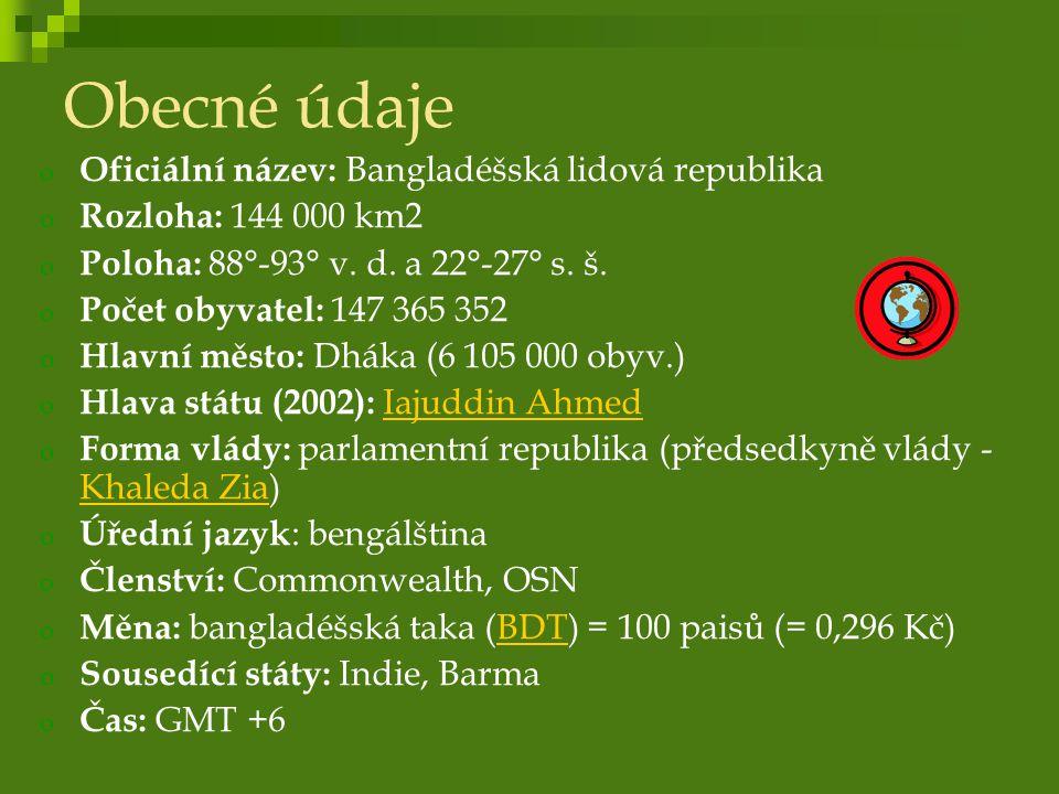 Obyvatelstvo o Počet obyvatel: 147 365 352 o Hustota zalidnění: 981 obyv./km2 o Etnické složení: 98% Bengálci 2% Bihárci, příslušníci různých kmenů o Náboženství: 83% muslimové 16% hinduisté o Roční přirozený přírůstek: 2,08 % o Střední délka života: muži: 61,8 let, ženy: 61,61 let o Gramotnost: 43,1 % o Nezaměstnanost: 40 %