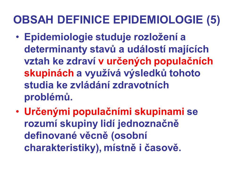 OBSAH DEFINICE EPIDEMIOLOGIE (5) Epidemiologie studuje rozložení a determinanty stavů a událostí majících vztah ke zdraví v určených populačních skupi