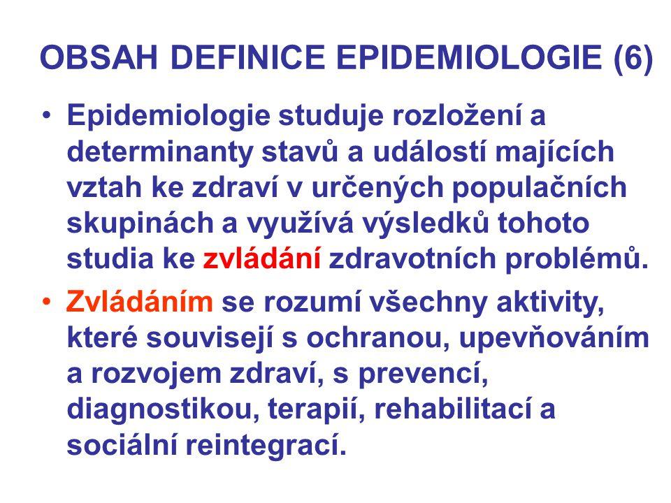 OBSAH DEFINICE EPIDEMIOLOGIE (6) Epidemiologie studuje rozložení a determinanty stavů a událostí majících vztah ke zdraví v určených populačních skupi