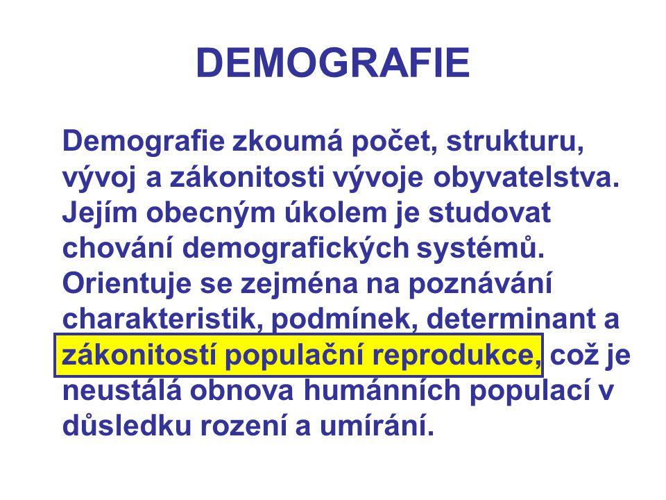 DEMOGRAFIE Demografie zkoumá počet, strukturu, vývoj a zákonitosti vývoje obyvatelstva. Jejím obecným úkolem je studovat chování demografických systém