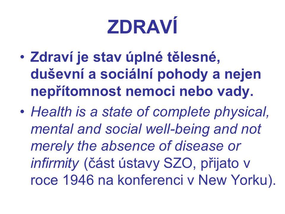 ZDRAVÍ Zdraví je stav úplné tělesné, duševní a sociální pohody a nejen nepřítomnost nemoci nebo vady. Health is a state of complete physical, mental a