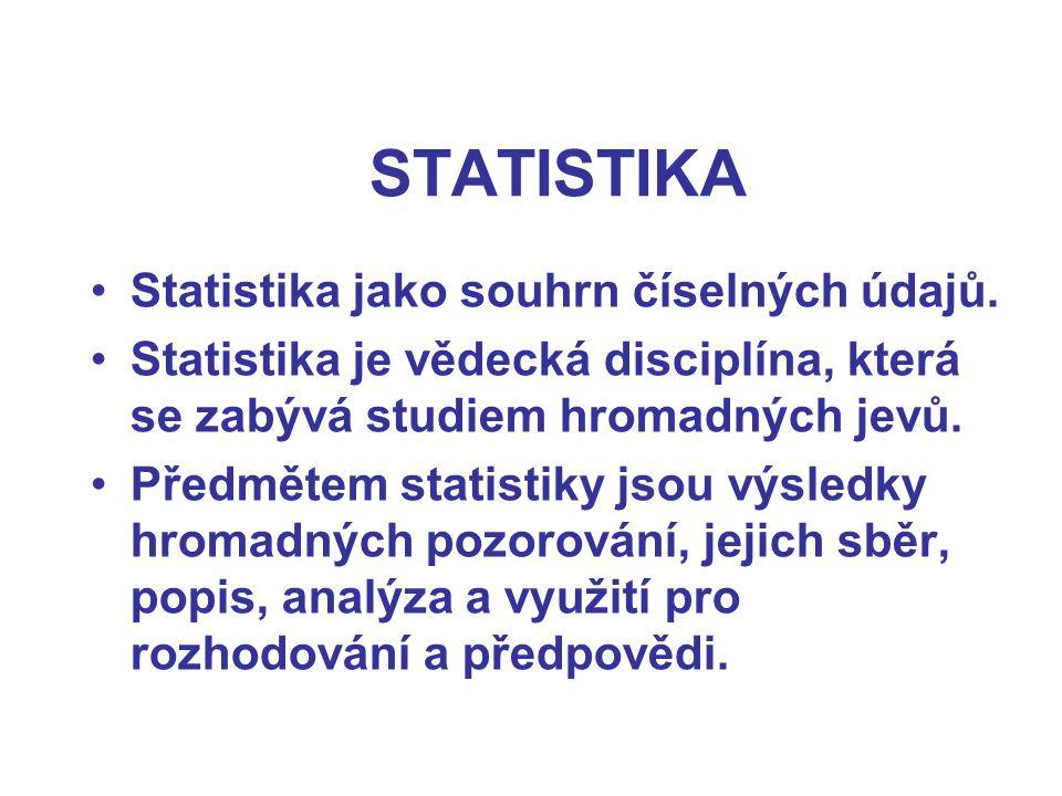 STATISTIKA Statistika jako souhrn číselných údajů. Statistika je vědecká disciplína, která se zabývá studiem hromadných jevů. Předmětem statistiky jso