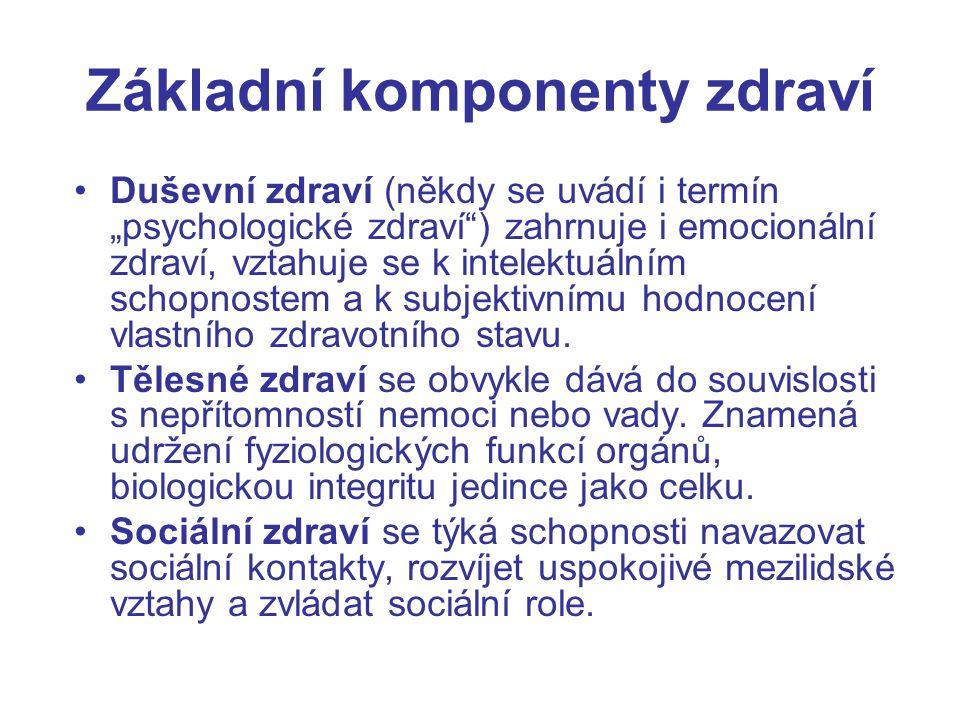 """Základní komponenty zdraví Duševní zdraví (někdy se uvádí i termín """"psychologické zdraví"""") zahrnuje i emocionální zdraví, vztahuje se k intelektuálním"""