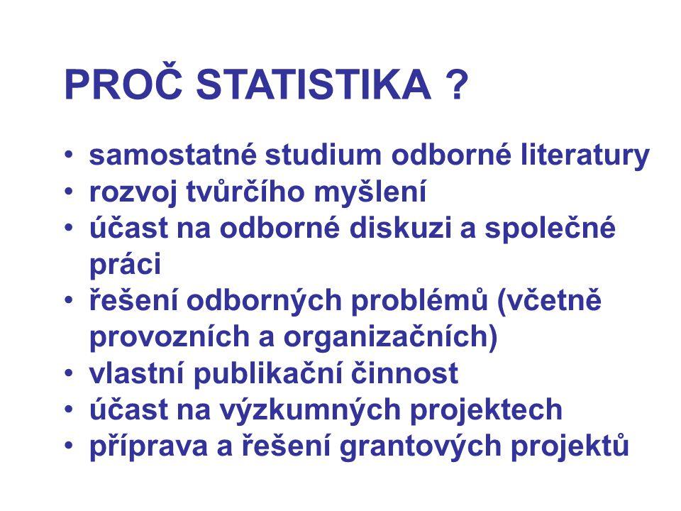 PROČ STATISTIKA ? samostatné studium odborné literatury rozvoj tvůrčího myšlení účast na odborné diskuzi a společné práci řešení odborných problémů (v