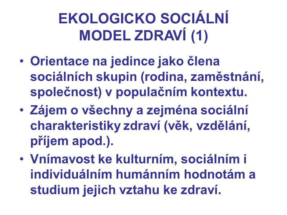 EKOLOGICKO SOCIÁLNÍ MODEL ZDRAVÍ (1) Orientace na jedince jako člena sociálních skupin (rodina, zaměstnání, společnost) v populačním kontextu. Zájem o