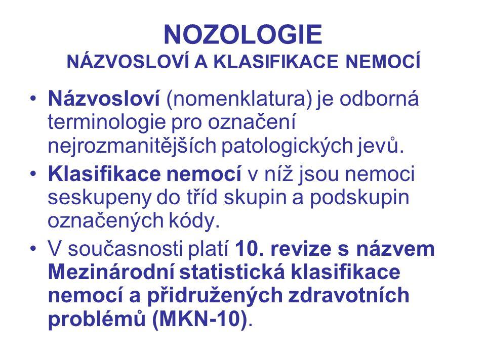 NOZOLOGIE NÁZVOSLOVÍ A KLASIFIKACE NEMOCÍ Názvosloví (nomenklatura) je odborná terminologie pro označení nejrozmanitějších patologických jevů. Klasifi