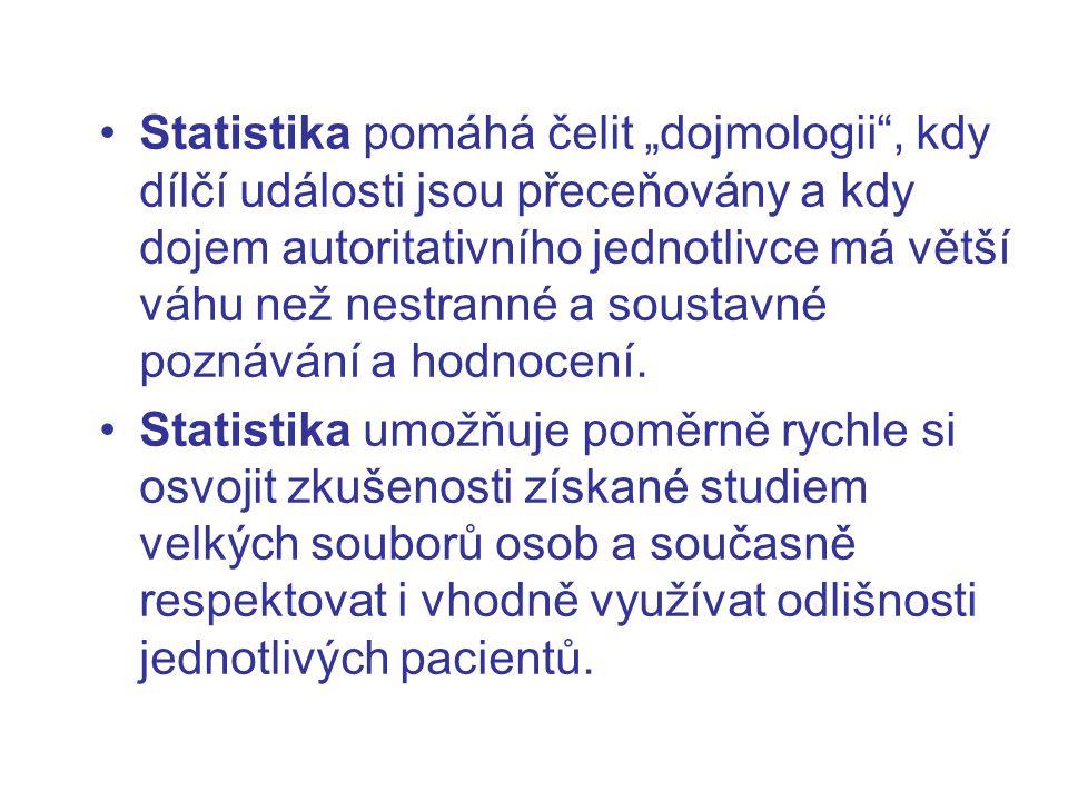 """Statistika pomáhá čelit """"dojmologii"""", kdy dílčí události jsou přeceňovány a kdy dojem autoritativního jednotlivce má větší váhu než nestranné a sousta"""