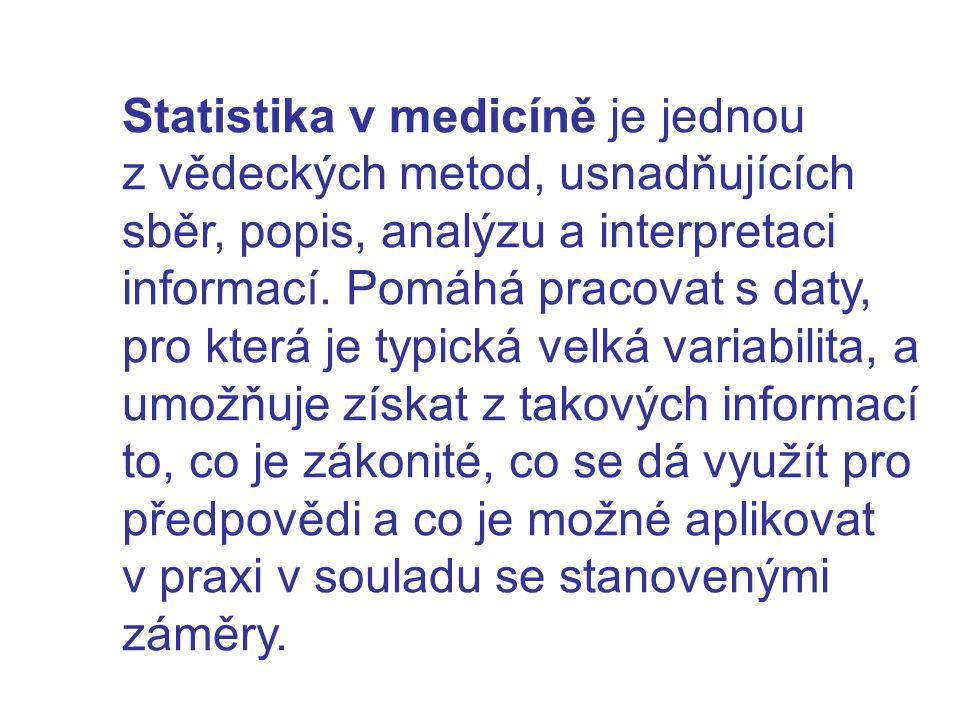 Statistika v medicíně je jednou z vědeckých metod, usnadňujících sběr, popis, analýzu a interpretaci informací. Pomáhá pracovat s daty, pro která je t
