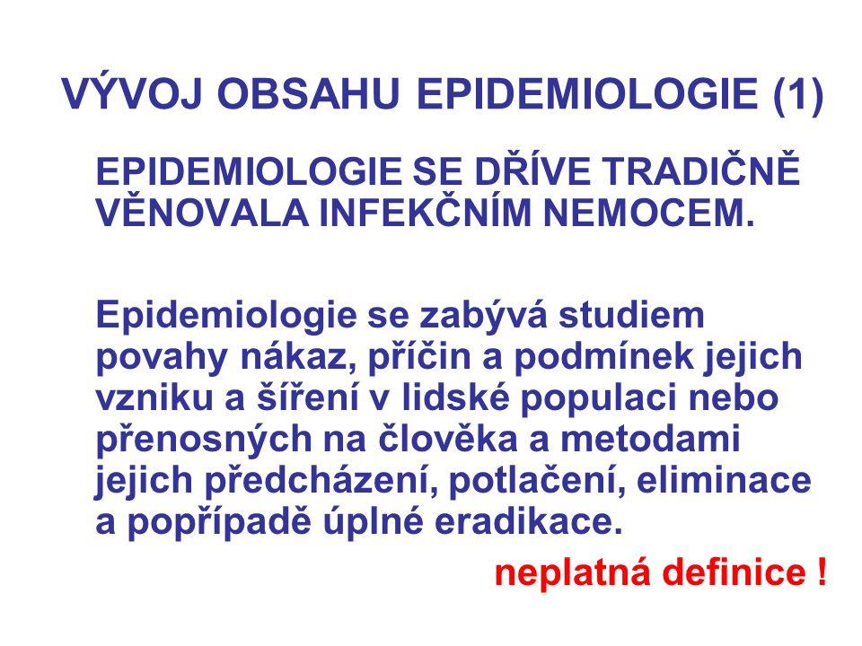 VÝVOJ OBSAHU EPIDEMIOLOGIE (1) EPIDEMIOLOGIE SE DŘÍVE TRADIČNĚ VĚNOVALA INFEKČNÍM NEMOCEM. Epidemiologie se zabývá studiem povahy nákaz, příčin a podm