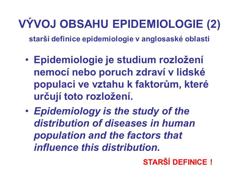 VÝVOJ OBSAHU EPIDEMIOLOGIE (3) novější definice epidemiologie v anglosaské oblasti Epidemiologie studuje rozložení a determinanty stavů a událostí majících vztah ke zdraví v určených populačních skupinách a využívá výsledků tohoto studia ke zvládání zdravotních problémů.