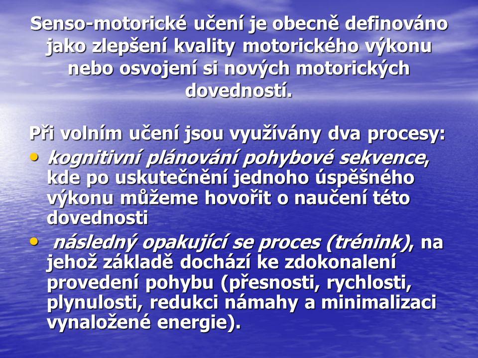 Senso-motorické učení je obecně definováno jako zlepšení kvality motorického výkonu nebo osvojení si nových motorických dovedností. Při volním učení j