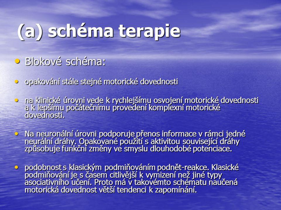 (a) schéma terapie Blokové schéma: Blokové schéma: opakování stále stejné motorické dovednosti opakování stále stejné motorické dovednosti na klinické