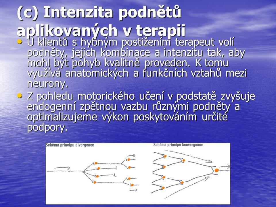 (c) Intenzita podnětů aplikovaných v terapii U klientů s hybným postižením terapeut volí podněty, jejich kombinace a intenzitu tak, aby mohl být pohyb