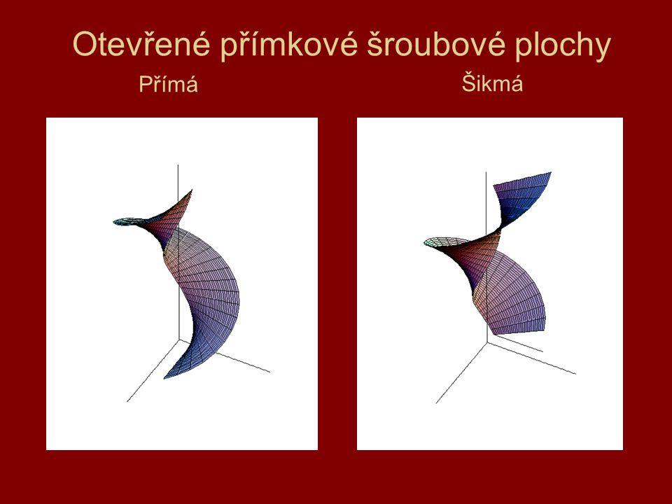 Plocha vinutého sloupku - rovina řídicí kružnice je kolmá na osu o (střed kružnice neleží na ose).