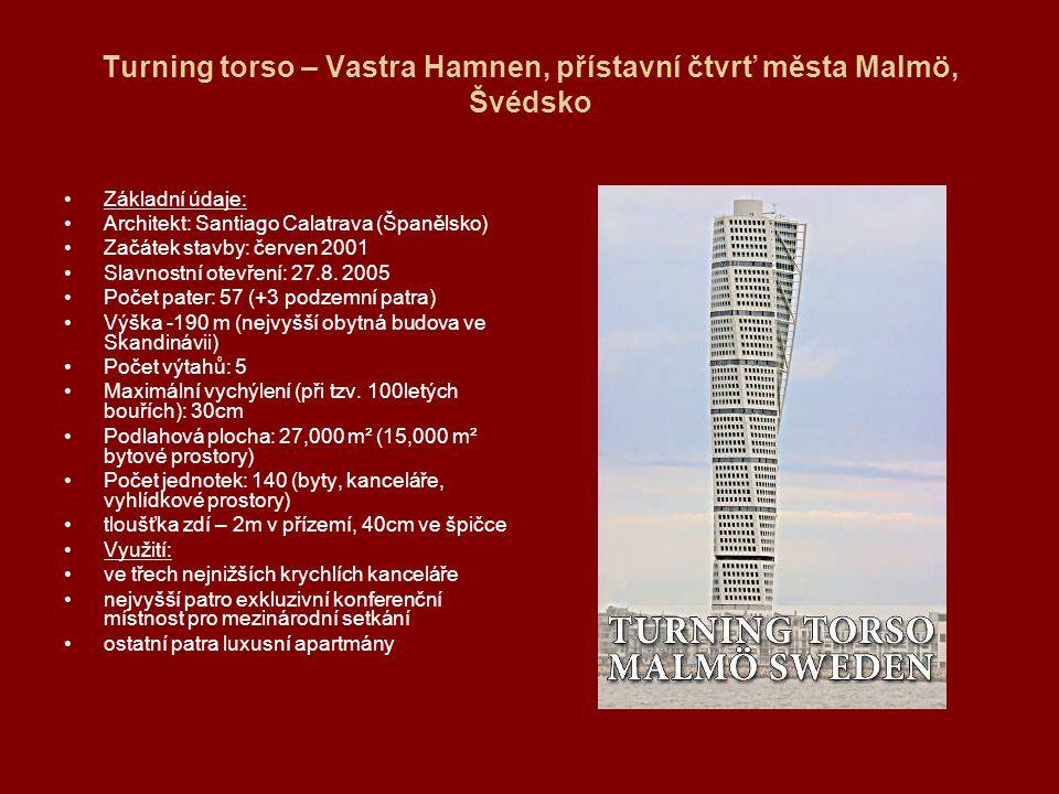 TURNING TORSO Zjednodušený model stavby se skládá z devíti vzájemně pootočených krychlí, nejvyšší je oproti nejnižší pootočena o 90°.