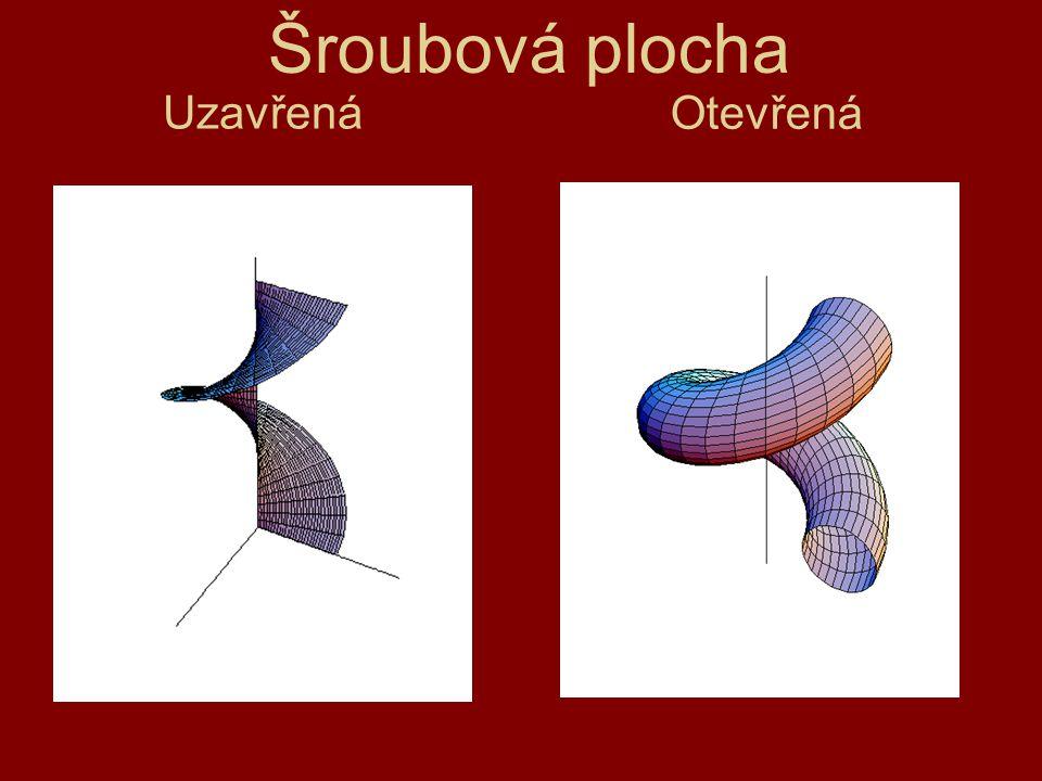 Přímkové šroubové plochy - vzniknou šroubovým pohybem přímky (úsečky), která není rovnoběžná s osou šroubového pohybu.