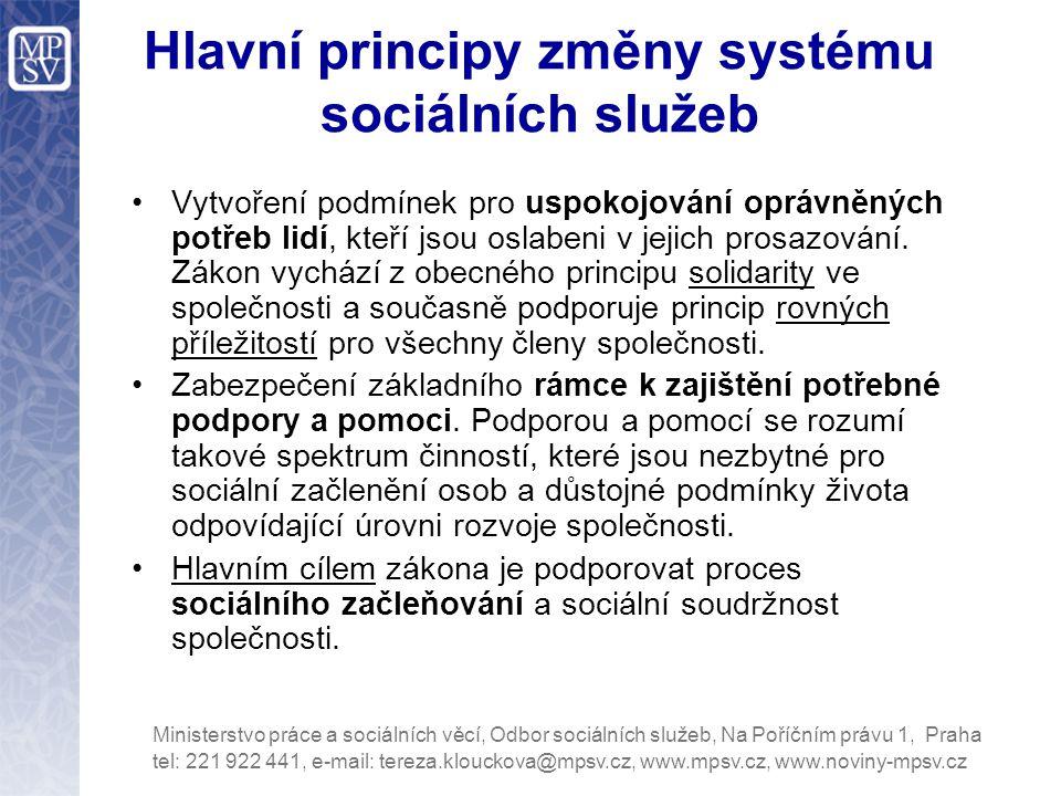 Hlavní principy změny systému sociálních služeb Vytvoření podmínek pro uspokojování oprávněných potřeb lidí, kteří jsou oslabeni v jejich prosazování.