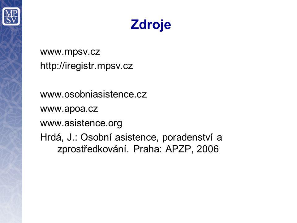 Zdroje www.mpsv.cz http://iregistr.mpsv.cz www.osobniasistence.cz www.apoa.cz www.asistence.org Hrdá, J.: Osobní asistence, poradenství a zprostředkování.