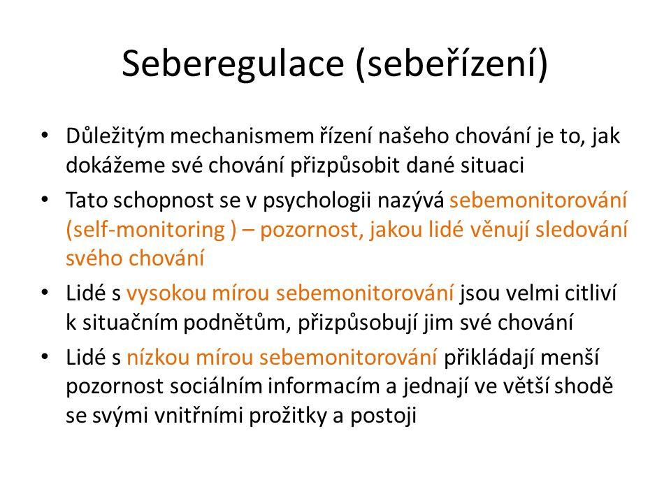 Ukázky z dotazníku sebemonitorování A) Mé chování obvykle vyplývá z mých skutečných pocitů.